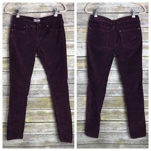 Free People Purple Corduroy Skinny Twist Pants